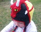 Dragon hat, red dragon hat, baby dragon hat, childrens dragon hat, winter childrens hat, newborn-adult dragon hat