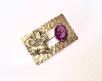sash pin antique brooch framed flower and Amethyst glass cabochon hammered design