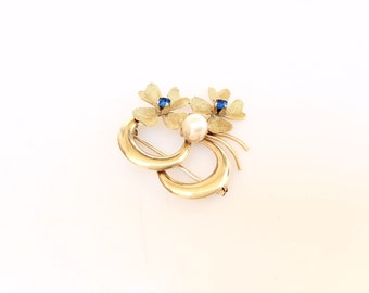 18K gold four leaves clovers brooch circles pearls and blue crystals 750 Italy yellow gold 24AR SABO