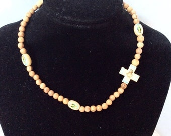 continuous rosary choker collar rosary wood rosary stretchy elastic unusual rosary