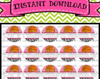 "EDITABLE Pink & Zebra Girly Basketball - INSTANT DOWNLOAD 1"" Bottle Cap Images 4x6 - 039e"