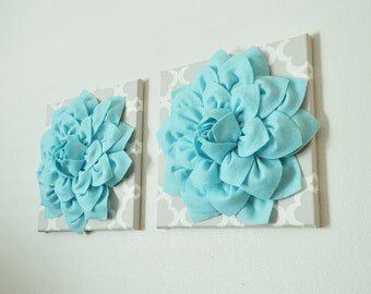 Two Flower Wall Art Aqua Dahlias On Neutral Gray Tarika