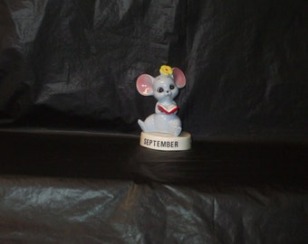 Vintage Japan NORCREST ADORABLE September Ceramic Mouse Figurine