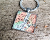 CUSTOM personalized vintage map keychain | map lover | traveler | geography