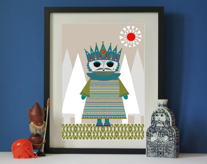 Vintage inspired King Scandi A3 print Vintage Mid-century style print