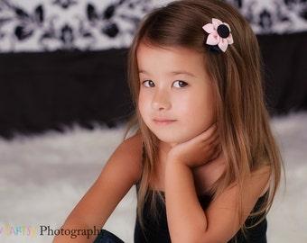 Pink & Black  Fabric Flower You Choose - Hair Clip, Headband, Elastic Headband, Ponytail Holder - Kanzashi Fabric Flower