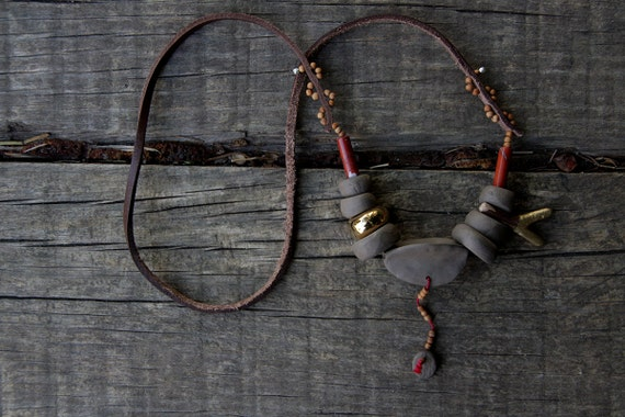 Tibet -  native inspired ceramic necklace - ready to ship