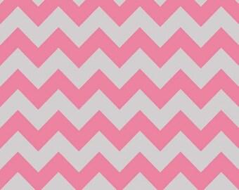 Medium Chevron in Pink/Gray by Riley Blake Fabrics, 1 Yard