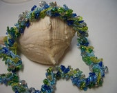 Necklace, silver, green, ocean blue, summer, blue, beach, beads, jewelery, handmade, Nova Scotia, blue glass beads, sparkle, crochet, soft