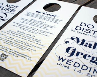 RESERVED for Michele - Chevron Wedding Door Hangers - Do Not Disturb / Itinerary - One-sided - Guest Welcome Bag - Custom Colors - Set of 35