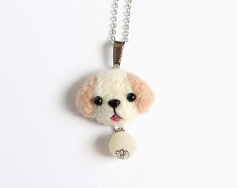Needle Felted Labrador necklace or brooch or ring or shawl pin