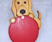 Handmade custom wooden dog and ball wall plaque