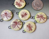 Dragonfly Charm, Set of Six Ceramic Charms, Connector Links, Handmade Porcelain with Iron Oxide Transfers, Joan Miller Porcelain Beads