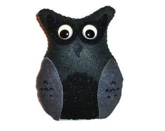 Black plush owl toy for kids glow in the dark eyes sparkly