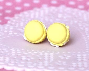 French Macaron Earring Studs - Yellow