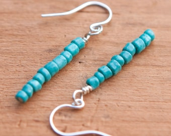 Tiny Turquoise Earrings with Sterling Silver Ear Wires #37