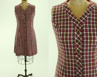 1960's Plaid Knit Dress M L Jumper the House of Shroyers