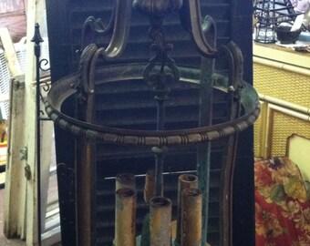 Antique Brass Verdigris Chandelier