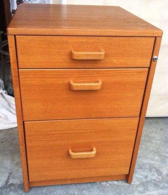 Vintage Teak Wood MCM Filing Cabinet