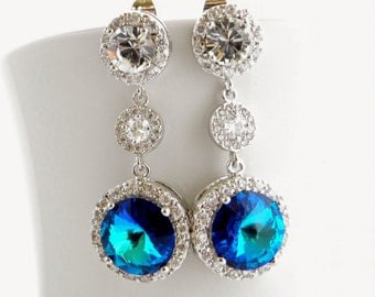 Bermuda Blue Bridal Earrings Teal and Blue Bridesmaid Wedding Jewelry Round Swarovski Crystal Halo Pave Earings CZ Glamorous Jewellery,