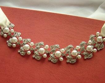 Bridal Headband Rhinestone Glass Pearl Bridal, Bridesmaid (H131)
