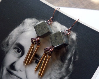 pyrite dangles / pyrite and brass / vintage earrings / PYRITE & BAR DANGLES