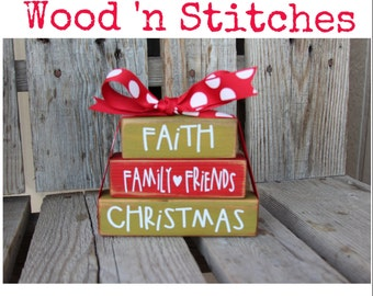 Christmas Decor Blocks Wood Block Set Seasonal Home Decor Gift family teacher neighbor hostess personalized Christmas cheer