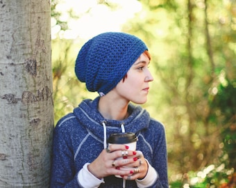 Blue Women's Slouchy Beanie, Slouch Hat, Slouchy Hat, 12 Months to Adult (Reese)