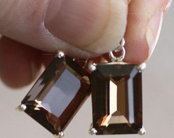 Tawny Mist - Smokey Topaz, Smokey Quartz Drop Sterling Silver Earrings
