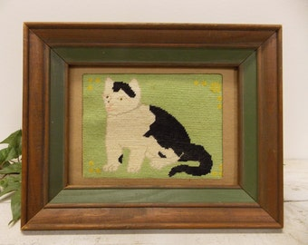 Vintage Primitive  Cat Portrait-- Handstitched and Framed-- Petit Point Handwork on Canvas