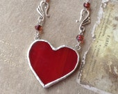 Stained Glass Reversible Valentine Queen of Hearts Necklace