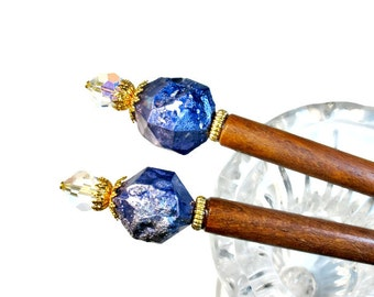 Quirky Blue Hair Sticks,  Blue Hair Accessories, Tanzanite Hairsticks, PAIR