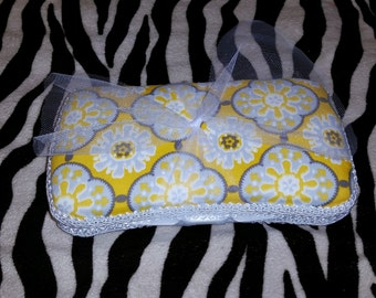 Yellow and Gray  Diaper Wipe Case
