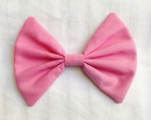 Pink hair bow cotton fabric bow clip