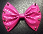 Pink spiked hair bow PVC fabric hair clip