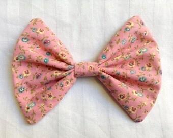 Pink floral hair bow peach fabric bow clip