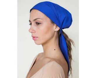 Women's Headscarf, Blue Cotton Head Cover, Scarf, Headwrap Tie, Fashion Hairwrap, Boho Headscarf