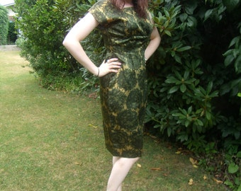 1960's Green Silky Plant Life Cocktail Dress