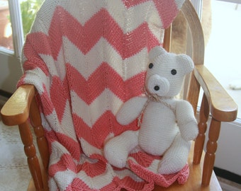 Chevron Striped Knitted Baby Blanket