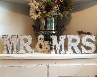 Mr & Mrs Letters French Script Wedding Party Home Decor