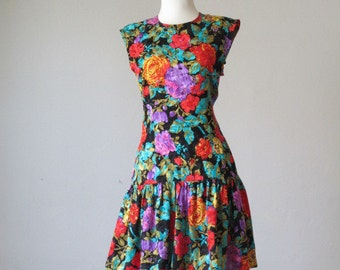 Fabulous 80's silk dress floral size 8