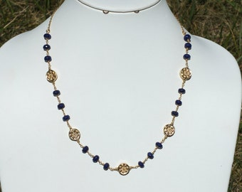 Faceted Lapis Lazuli and Gold Filigree Bali Beads Gold Filled Necklace- NK 156