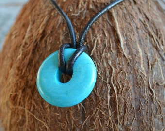 Leather Necklace With Delicate Turquoise Donut