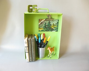 Vintage Metal Drawer, bright green, Industrial Storage, Shadow box, Magnet board