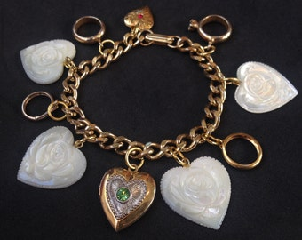 Vintage Locket, Rings, Carved Mother of Pearl Hearts Charm Bracelet