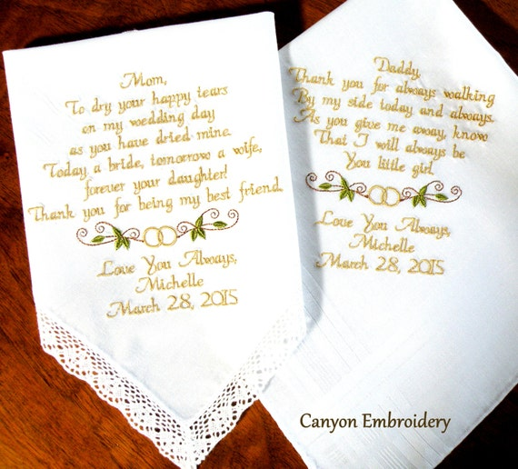 embroidered wedding handkerchief mother and father of the