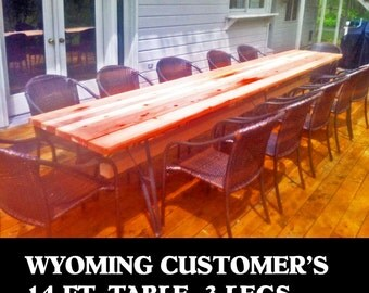 3 Metal TwinLegs For 14 Foot Long Patio Table, You Create DIY Your Boards