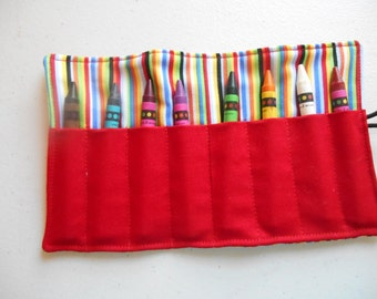 Primary colored striped crayon roll up 8 count