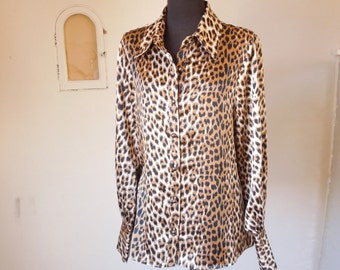 Vintage Leopard Print Shirt,  Animal Print in Brown, Tan and Black, Long Sleeve, Size Medium to  Large