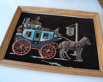 English Stagecoach Black Velvet Paint by Number PBN Framed Wall Decor 1960s
